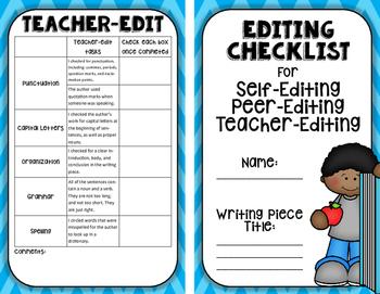 Editing Booklet: Self-edit, Peer-edit, and Teacher-Editing