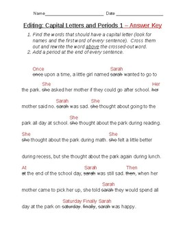 Editing: Capital Letters and Periods 1