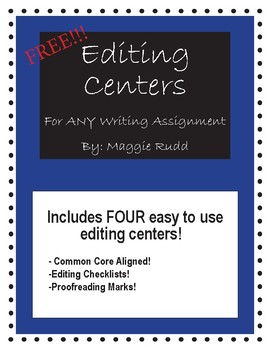 Editing Centers for any writing assignment! Common Core Aligned