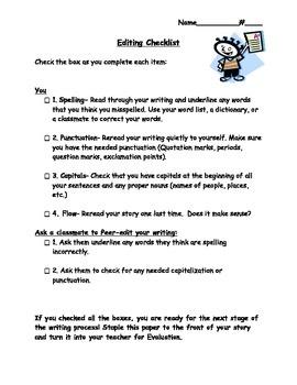 Editing Checklist, Writing Checklist, Peer Editing Checkli