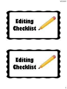 Editing Checklist Cards