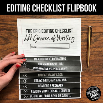 Editing Checklist FLIPBOOK for ANY Writing Assignment