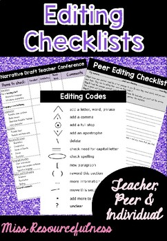 Editing Checklist - Individual, Peer and Teacher Conference