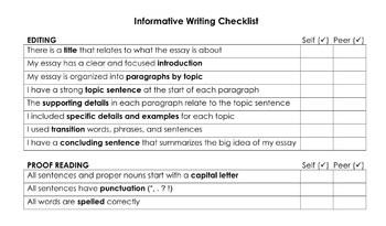 editing checklist informative writing by teacher traveler