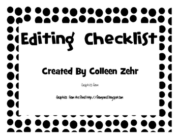Editing Checklist Poster with Dot borders