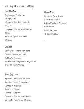 Editing Checklist Texas Writing TEKS 4th Grade