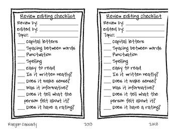 Editing Checklist - Writing Reviews