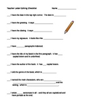 Editing Checklist for End of Book Letter to the Teacher