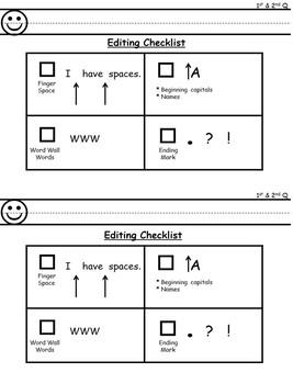 Editing Checklist for Primary Grades