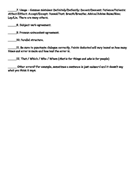 Editing Checklist for Middle School
