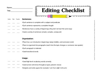 Editing Checklist for Self-Editing, Peer-Editing, and Teacher-Editing