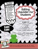 Editing Checklist for Students- Grades 3-5