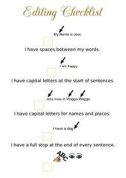Editing Checklist for Writing Mini Lesson