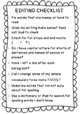 Editing Checklist for Writing - Primary/Elementary