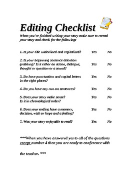 Essay editing checklist year 6th