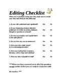 Editing Checklist for Writing grade 2-4