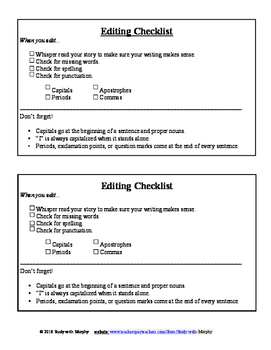 Editing Checklist with check boxes - Writing