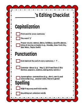 Editing Checklists for 2nd and 3rd Grades