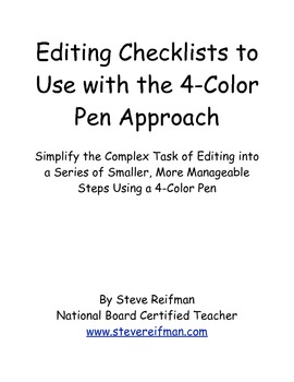 Editing Checklists to Use with the 4-Color Pen Approach