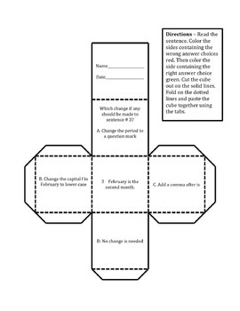 Editing Cubes 4th Grade Writing STAAR Test Prep