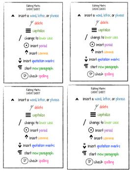 Editing Marks Cheat Sheets