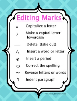 Writer's Workshop Editing Marks Poster