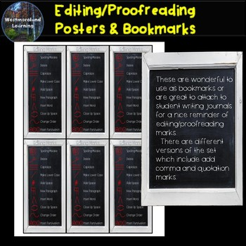 Editing Marks Proofreading Posters & Bookmarks Multiple Designs