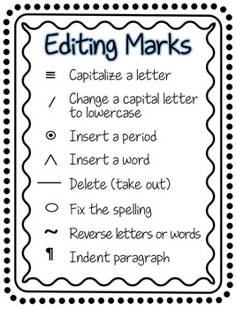 photo about Editing Marks Printable titled Enhancing Marks for Basic