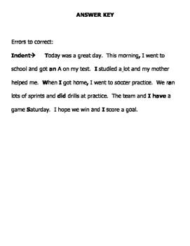 Editing Paragraph Practice