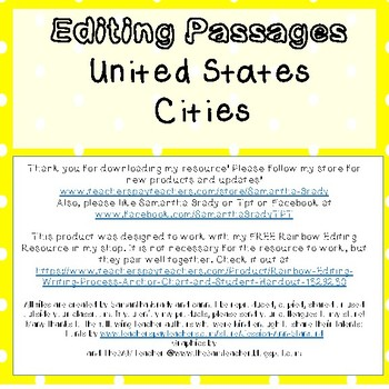 Editing Passages-United States Cities