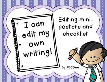 Editing Posters and Checklist - Great Visuals for Primary Grades!