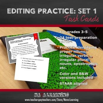 Editing Practice: Set 1 - Task Cards