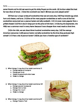 Editing Practice (Topic: Sandwiches)