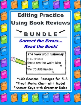 Editing Practice Using Book Reviews BUNDLE Full Year of 100 Seasonal Passages