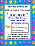 Editing Passages Using Book Reviews BUNDLE Full Year of 100 Seasonal Passages