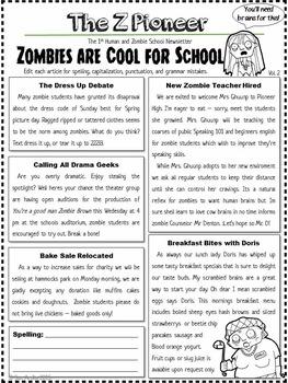 Editing Grammar Practice - Zombie Newsletters, Common Core Aligned