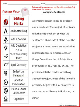 Editing Proofreading Worksheet with Complete Sentences Passage by ...