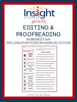 Editing Proofreading Worksheet with Spelling Strategies Passage by ...