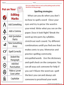 editing proofreading worksheet with spelling strategies passage by lisa frase. Black Bedroom Furniture Sets. Home Design Ideas