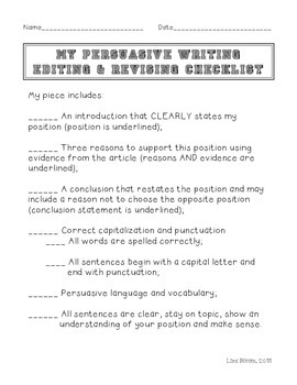 Editing & Revising Checklist for Persuasive Writing