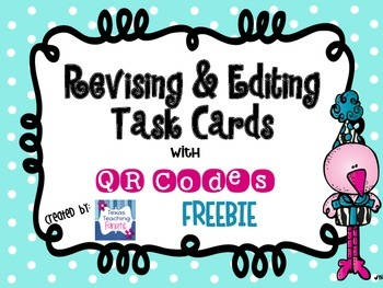 Editing & Revising Task Cards with QR Codes FREEBIE
