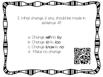 Editing & Revising Task Cards with QR Codes: Homophones