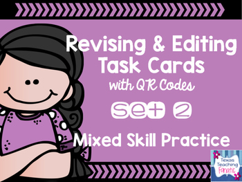 Editing & Revising Task Cards with QR Codes Set 2
