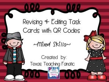Editing & Revising Task Cards (Mixed Skills) with QR Codes Set 3