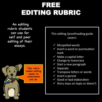 FREE - Editing Rubric for Creative Writing and Essays