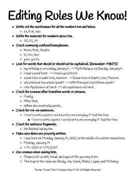 Editing Rules We Know! [6th Grade Edition]