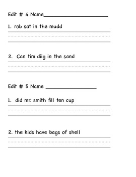 Editing Sentences First Grade Capital Letters, Spelling, Punctuation