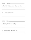 Editing Sentences First Grade Capital Letters, Spelling, P