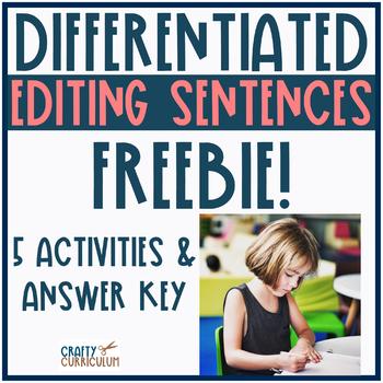 Editing Sentences Practice Differentiated FREEBIE!
