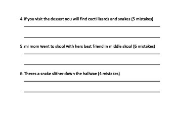 Editing Sentences Proofread Sentences